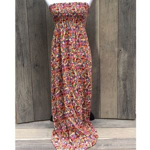 Beautiful Multi Color Strapless Maxi Dress Sz L